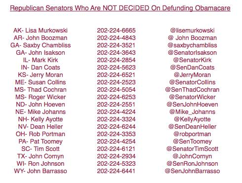 Phone numbers and Twitter for Republican Senator who are 'undecided' on DEFUNDING Obamacare