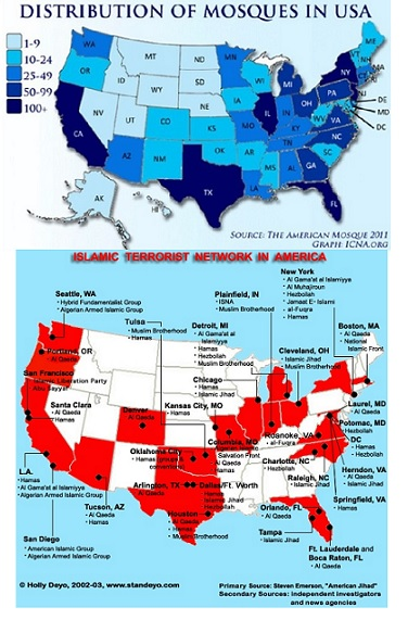 US centers of Islamic activity form interesting map