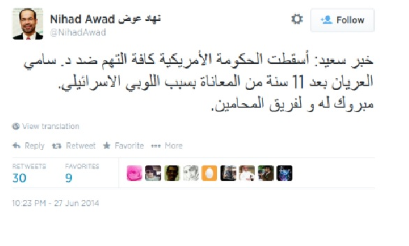 CAIR-Hamas Leader Blames Jews in Arabic Tweets, But Not in English