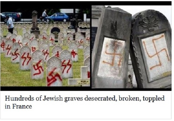Hundreds of Jewish graves desecrated, broken, toppled in France