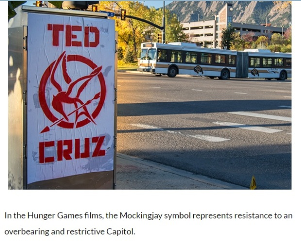 Ted Cruz Street Art Appears Everywhere Around University of Colorado at Boulder before Debate