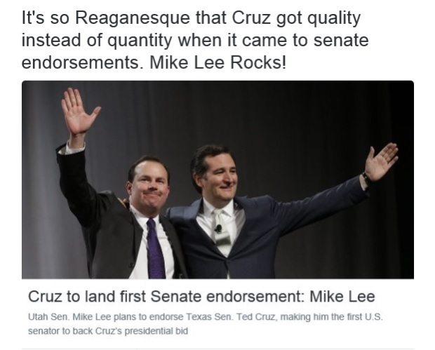 The Most Conservative Guy In The Senate, Mike Lee, Just Endorsed Ted Cruz!