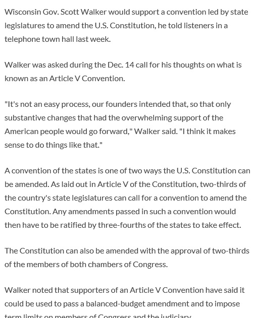 Scott Walker said he supports an Article V Convention of States